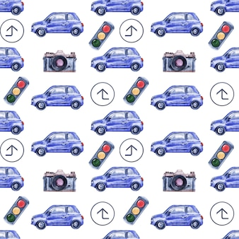 Aquarel naadloze patroon met auto's, verkeersborden, kaarten en verkeerslichten