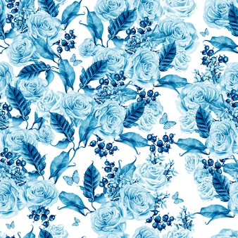 Aquarel naadloze patroon met bloemen en lavendel rozen, bessen bessen en vlinders.