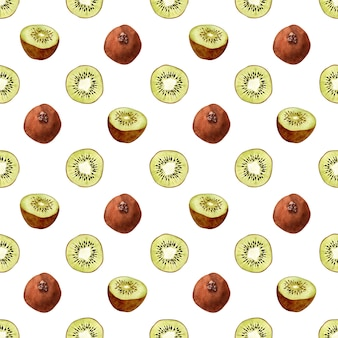 Aquarel naadloze patroon met bloemen, rijp fruit, takken en bladeren van een kiwiboom