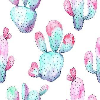 Aquarel naadloze patroon met cactus. afdrukken voor verpakking, behang, stof. hand getekende illustratie