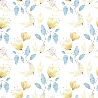 Aquarel naadloze patroon met gouden bloemknoppen, grote abstracte bloemen en bladeren op wit
