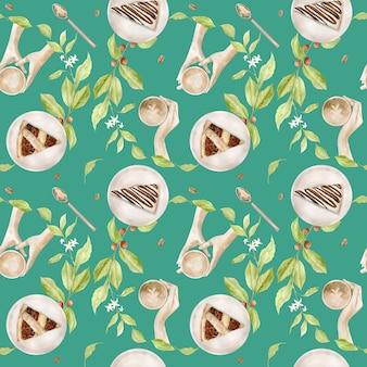 Aquarel naadloze patroon met illustraties van koffiekopje en desserts