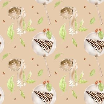 Aquarel naadloze patroon met illustraties van koffiekopje, koffiebonen, koffiemolen, cappuccino, latte en desserts