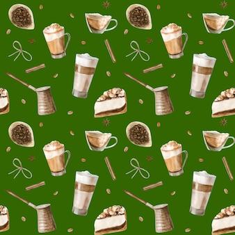 Aquarel naadloze patroon met illustraties van koffiekopje,