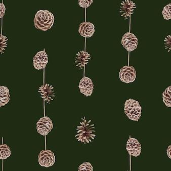 Aquarel naadloze patroon met kerst kegel decor in scandinavische stijl.