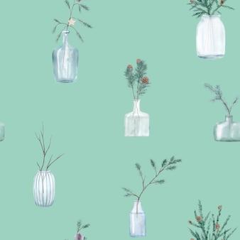 Aquarel naadloze patroon met kerstboom in scandinavische stijl.