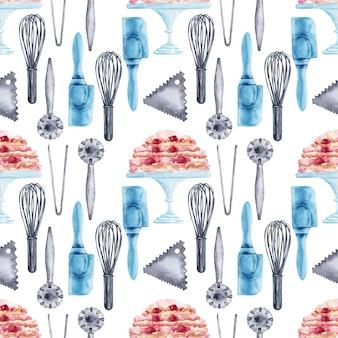 Aquarel naadloze patroon met kookgerei en snoep
