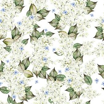 Aquarel naadloze patroon met lila bloemen en bladeren