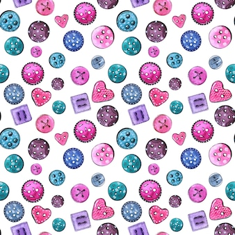 Aquarel naadloze patroon met naaien accessoires en attributen. onderdelen en gereedschappen voor kleermakers