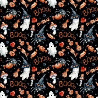 Aquarel naadloze patroon met oranje halloween snoepjes, pompoenen, spoken, paddestoelen, zwarte hoeden en spikes