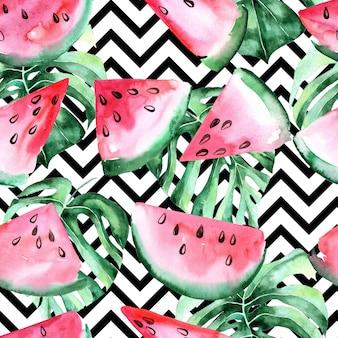 Aquarel naadloze patroon met plakjes watermeloen en tropische bladeren.