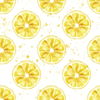 Aquarel naadloze patroon met schijfje citroen en druppels