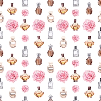 Aquarel naadloze patroon met verschillende flesjes en aromatische planten