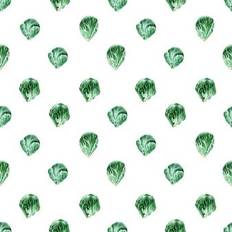 Aquarel naadloze patroon met verschillende soorten kool. spruitjes en boerenkool