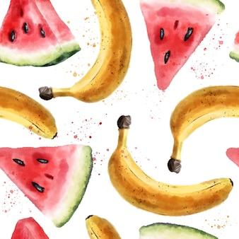 Aquarel naadloze patroon met watermeloenen en bananen
