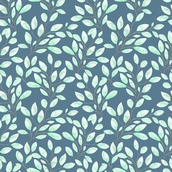 Aquarel naadloze patroon met zachte groene bladeren, lente gebladerte op twijgen op blauw