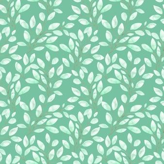 Aquarel naadloze patroon met zachte groene bladeren, lente gebladerte op twijgen op groen