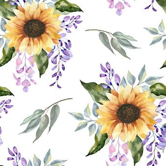 Aquarel naadloze patroon met zonnebloemen.