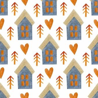 Aquarel naadloze patroon oranje sparren harten huizen