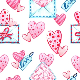 Aquarel naadloze patroon textuur voor valentijnsdag. handgeschilderde achtergrond. romantische illustratie perfect voor ontwerpgroeten, prints, flyers, kaarten, vakantie-uitnodigingen en meer.