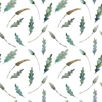 Aquarel naadloze patroon van bladeren