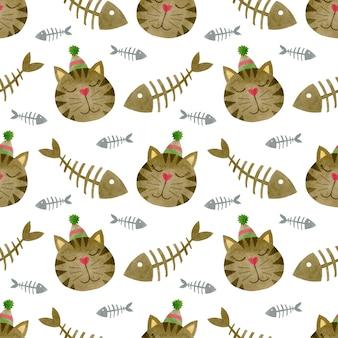 Aquarel naadloze patroon van gezichten van katten in een kroon katten aquarel achtergrond