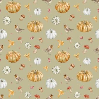 Aquarel naadloze patroon van oranje pompoenen, paddestoelen en vogels. herfst achtergrond. thanksgiving illustratie met pompoenen.