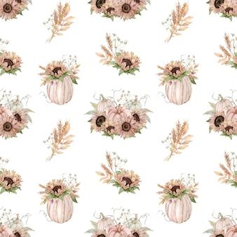 Aquarel naadloze patroon van pastel pompoenen versierd met zonnebloemen
