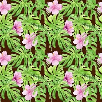 Aquarel naadloze patroon van tropische bladeren en hibiscus bloemen