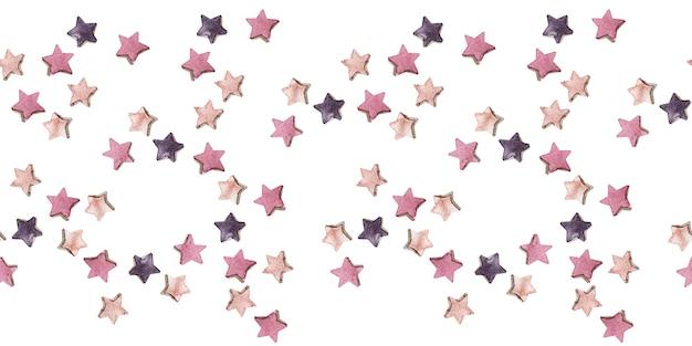 Aquarel naadloze rand met veelkleurige ster