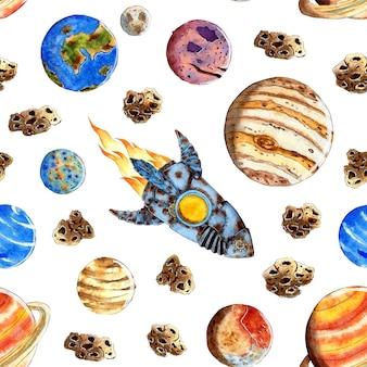Aquarel naadloze ruimte achtergrond voor kinderen. cartoon raketten, planeten, sterren, kometen. het herhalende patroon is geïsoleerd op wit, met de hand getekend.