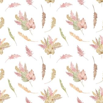Aquarel naadloze tropische patroon met exotische palmbladeren en pampagras. zomer illustratie.