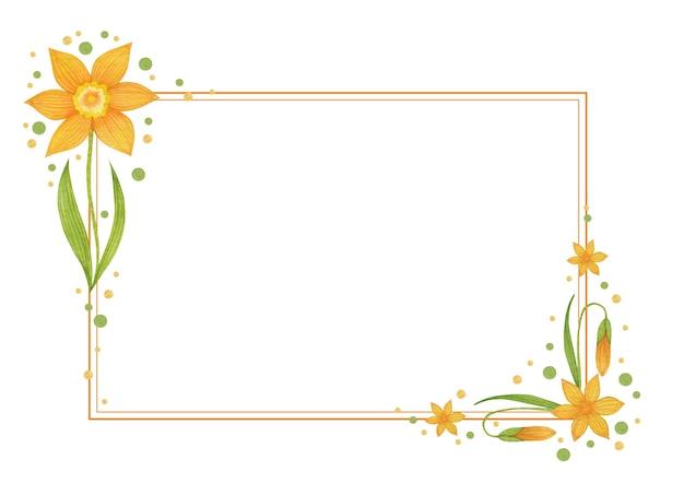 Aquarel narcissen frame geïsoleerd op een witte achtergrond