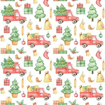 Aquarel nieuwjaar 2021 patroon, merry christmas-achtergrond, handgetekend kerstpatroon, winter textielontwerp, kerstvrachtwagen, sparrenboom, cadeau, kerstpatroonontwerp, inpakpapier