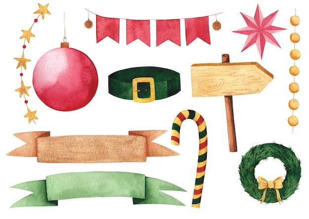 Aquarel nieuwjaar en kerst clip arts set