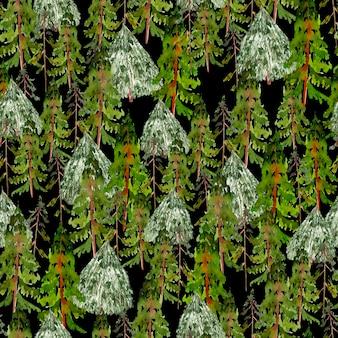 Aquarel nieuwjaarspatroon met kerstbomen en dennen illustratie