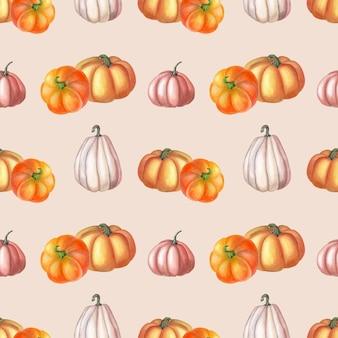 Aquarel oranje, roze pompoen op roze achtergrond. herfst naadloze patroon. aquarel botanische illustratie van groente. tuinkunst voor print, textiel, stof, inpakpapier.