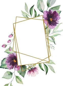 Aquarel paarse bloemen en groene bladeren frame illustratie geïsoleerd
