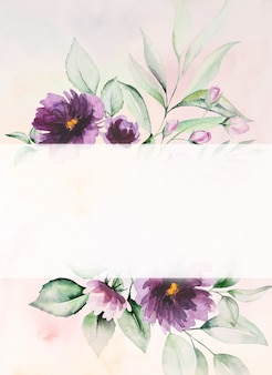 Aquarel paarse bloemen en groene bladeren kaart romantische illustratie met aquarel achtergrond. voor bruiloft briefpapier, groeten, behang, mode, posters