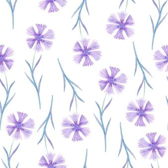 Aquarel paarse korenbloemen naadloze patroon.