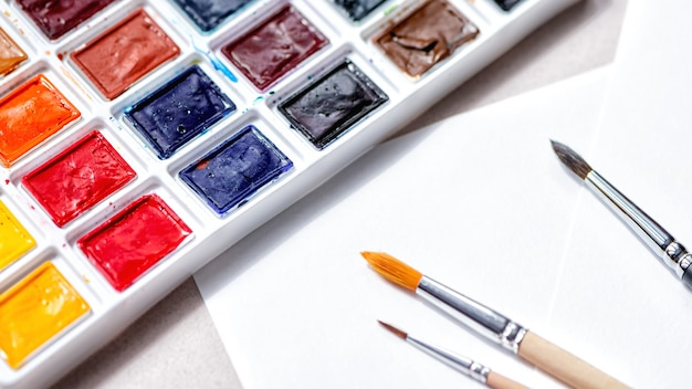 Aquarel palet met tinten en penselen voor verf op een wit papier