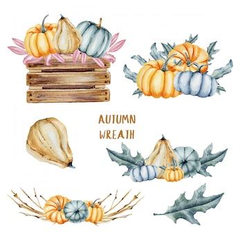 Aquarel pampkin en bladeren collectie