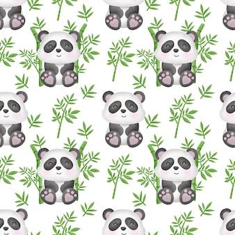Aquarel panda met bamboe naadloos patroon