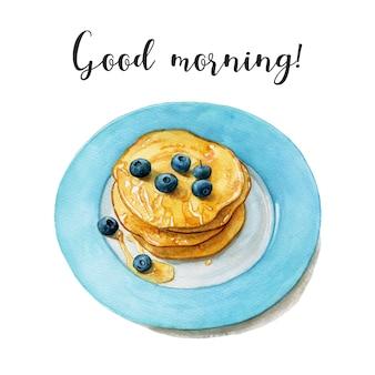 Aquarel pannenkoeken met honing en bosbessen op de blauwe plaat