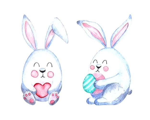 Aquarel pasen illustratie met schattige witte konijnen op een witte achtergrond
