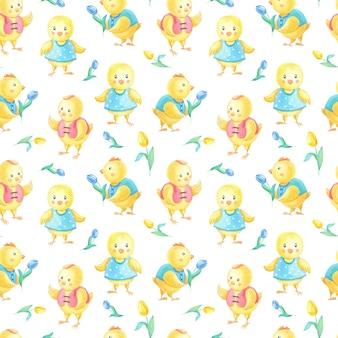Aquarel pasen naadloze patroon met schattige gele kippen in kleding, blauwe tulpenbloem.
