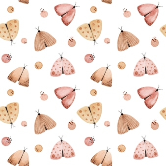 Aquarel pastel vlinder, motten naadloze patroon. tedere handgeschilderde stoffen print