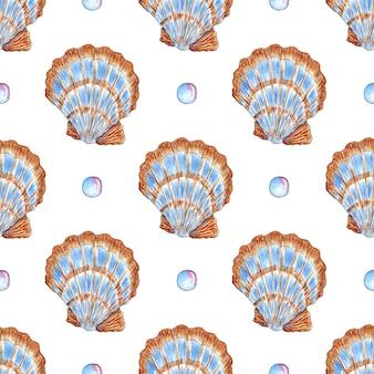 Aquarel patroon illustratie van grote beige blauwe schelpen met mantel en bubbels underwater