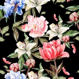 Aquarel patroon met bloemen iris, pioenrozen en lelies, toppen en bloemblaadjes. illustratie