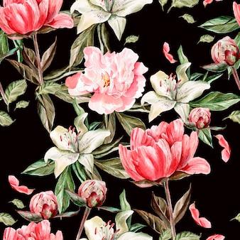 Aquarel patroon met bloemen, pioenrozen en lelies, toppen en bloemblaadjes. illustratie